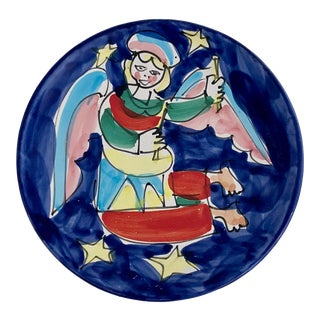 Italian Handpainted Christmas Plate For Sale