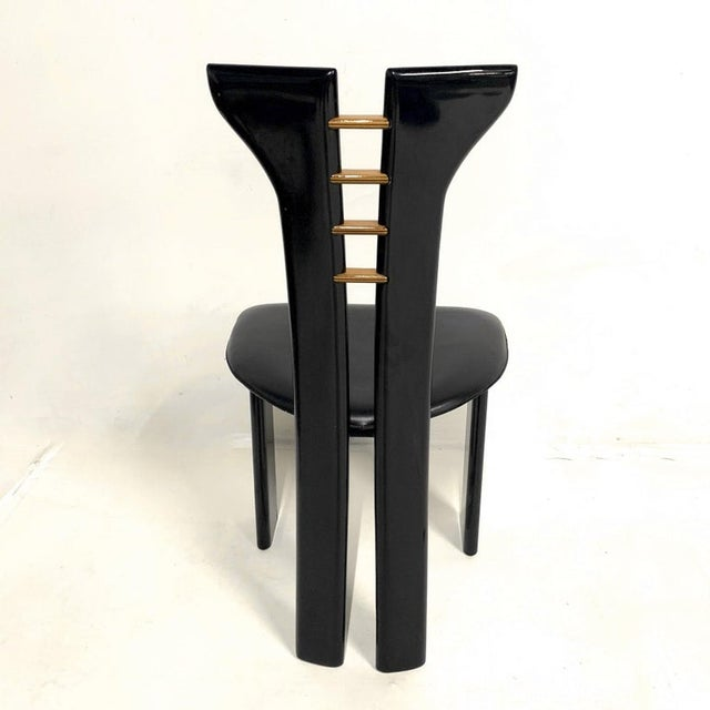 1970s Pierre Cardin Sculptural Black Lacquer Chairs With Leather Seats - Set of 4 For Sale - Image 9 of 10