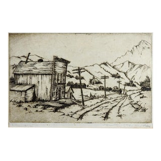 Colorado Ghost Town Etching Print For Sale