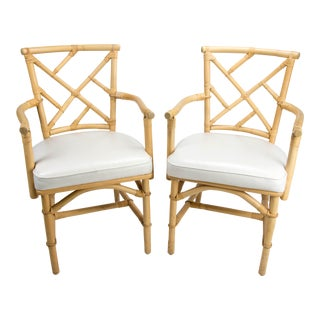 Rattan Chinese Chippendale Side Chairs - A Pair