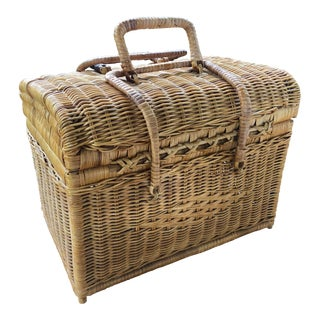 Vintage Mid-Century Woven Wicker Rattan Picnic Basket For Sale