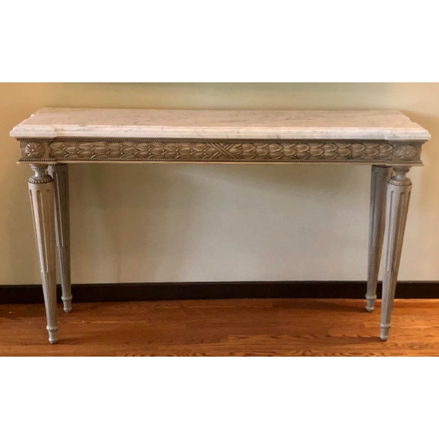 2010s Neoclassical Paint Decorated Marble Top Console Table For Sale - Image 5 of 5