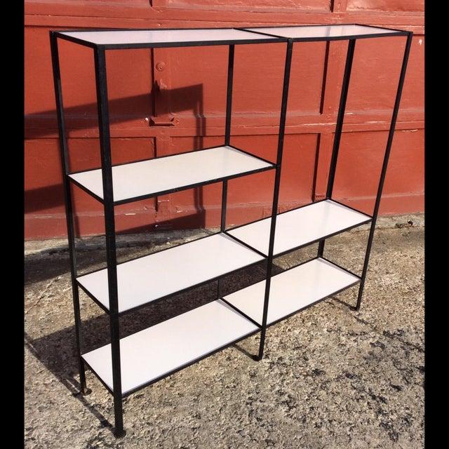 Frederick Weinberg Style Wrought Iron Masonite Bookcase For Sale - Image 9 of 9