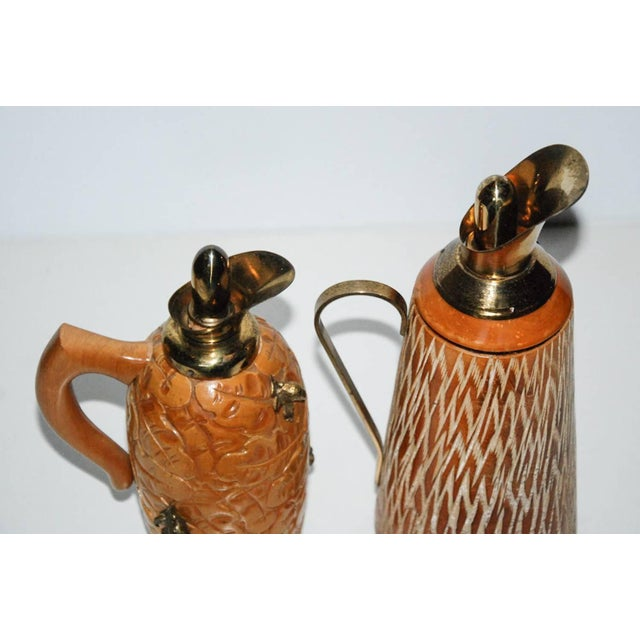 Aldo Tura Wood & Brass Decanters - A Pair For Sale - Image 9 of 11