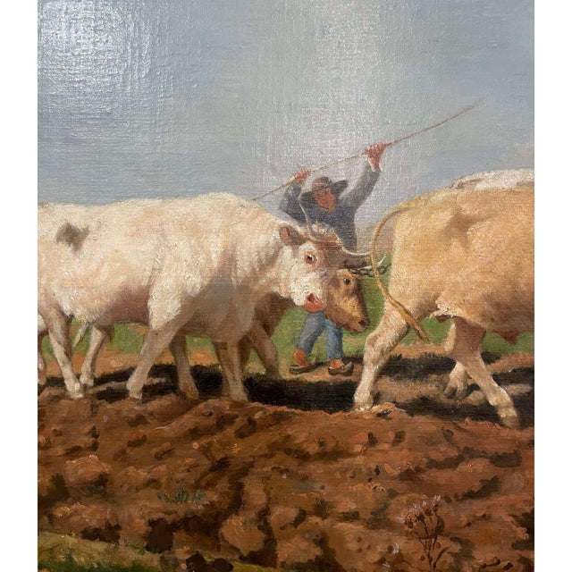 """Mid-19th Century French Oil on Canvas Cows Painting """"Plowing in Nivernais"""" For Sale - Image 9 of 13"""