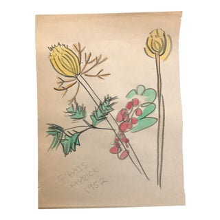 1952 Vintage Botanical Watercolor Painting For Sale