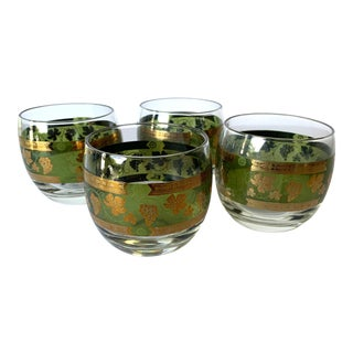 22 Karat Gold Mid-Century Modern Rolly Polly Rocks Glasses by Cera For Sale