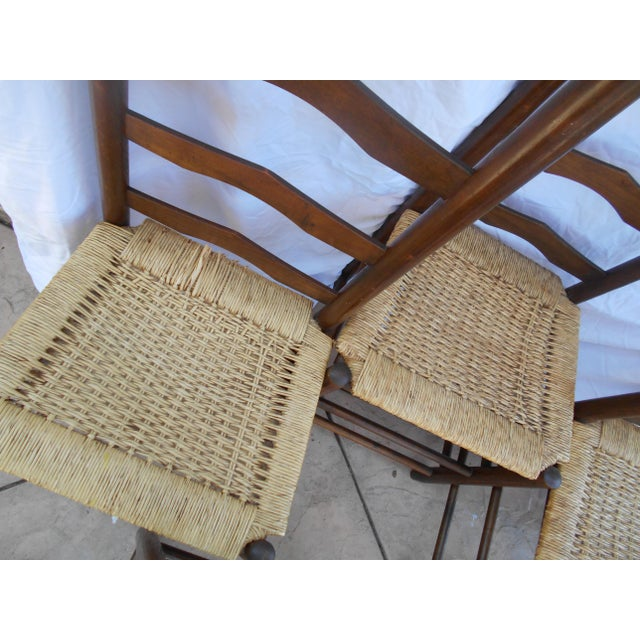 Vintage French Ladder Back Dining Chairs - Set of 6 - Image 6 of 9