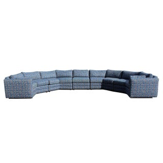 Mid Century Modern Large 5 Piece Curved Circular Sectional Sofa For Sale
