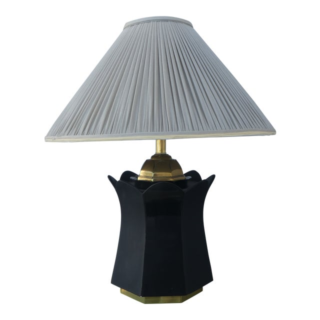 70's Brass and Black Ceramic Decorator Accent Lamp For Sale