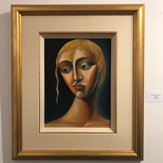 1970s Vintage Yuroz Young Woman Portrait Oil on Board Painting For Sale - Image 9 of 11