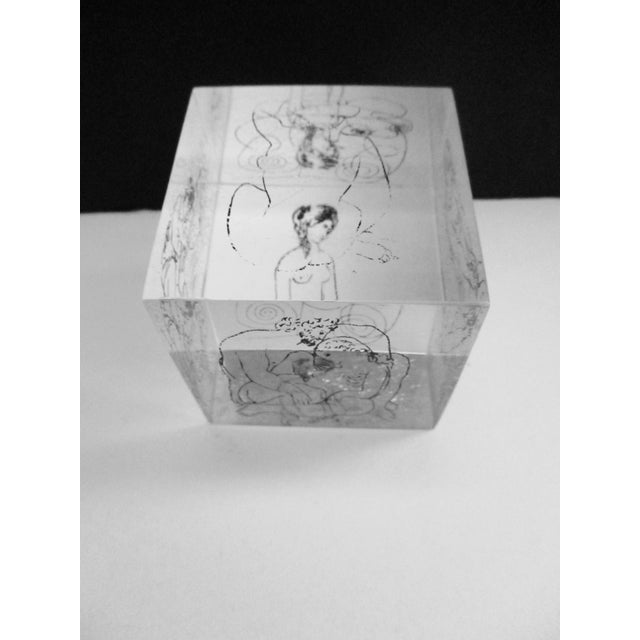 Transparent Picasso Drawings Lucite Cube Paperweight For Sale - Image 8 of 9