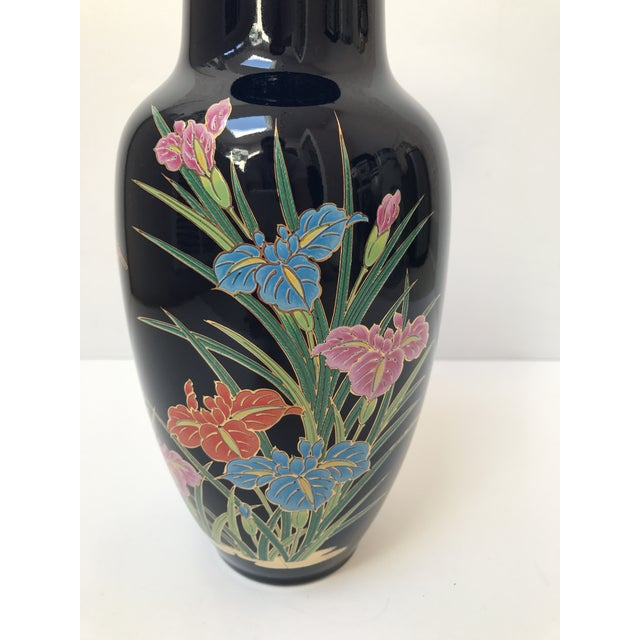 Asian Asian Inspired Navy Floral Vase For Sale - Image 3 of 6