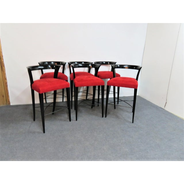 Red Modern Design Custom Red Upholstered Lacquered Bar Stool Set of 3 For Sale - Image 8 of 8