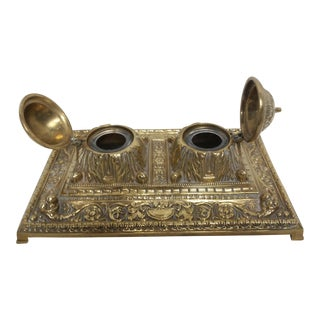 Antique Brass Partners Inkwell With Glass Ink Pots For Sale