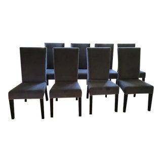 Transitional Gray Velvet Custom Dining Chairs - Set of 8