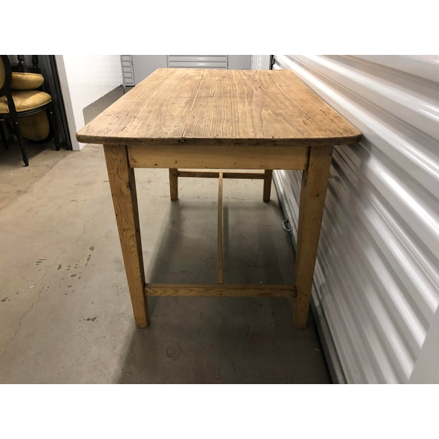 1960s Rustic Light Wood Side Table For Sale - Image 4 of 6