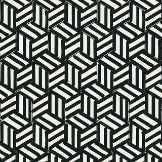 Sample - Schumacher Tumbling Blocks Stripes Geometric Wallpaper in Black For Sale