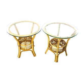 Natural Rattan & Glass Circular Side Tables | Two-Tier Boho Tropical Chic Accent Tables | Two Available For Sale