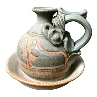 Vintage Potter John Schulps Hand Sculpted Olive Oil Jar For Sale
