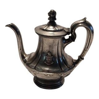 "Antique ""The Stevens"" Hotel Silver Plated Tea Pot by R.Wallace For Sale"