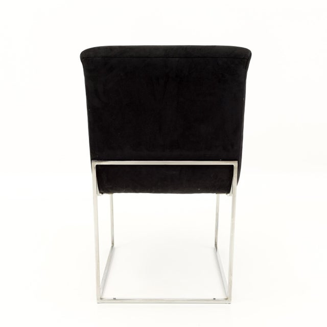 Metal Milo Baughman for Directional Mid Century Black Velvet Chrome Base Lounge Chairs - a Pair For Sale - Image 7 of 11