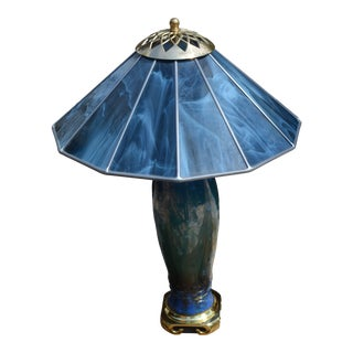 Campbell Pottery Tall Blue Table Lamp With Swirl Stained Glass Shade For Sale