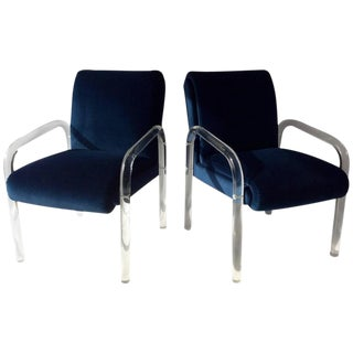 Vintage Blue Velvet Lucite Arm Chairs - A Pair