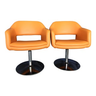 Mid-Century Modern Orange Side Chairs - a Pair