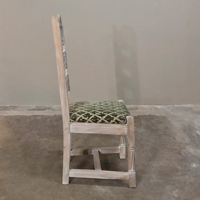 Early 20th Century Antique Rustic Gothic Stripped Dining Chairs- Set of 6 For Sale - Image 10 of 12