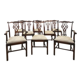 Circa 1900 Set of 8 Chippendale Style Dining Chairs, England For Sale
