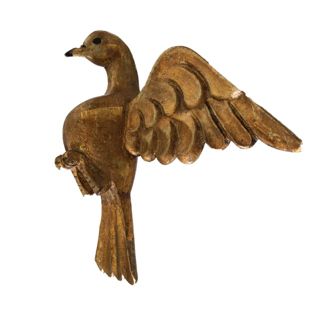 "Lg Old Santos Wooden Holly Spirit Dove/Bird 9""h by 13.5"" W For Sale In New York - Image 6 of 9"