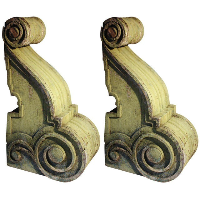 Pair of Large Wood Corbels, 19th Century For Sale In Philadelphia - Image 6 of 6