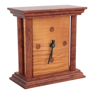 Modernist Wood Table Clock For Sale