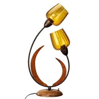 Vintage Mid-Century Scandinavian Tulip Table Lamp With Amber Glass 'Tulip' Shades For Sale