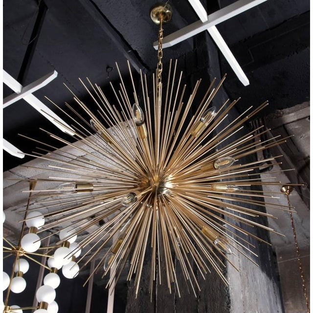 Very huge brass Sputnik or Urchin chandelier. The chandelier has a very impressing size and is a real eyecatcher in every...