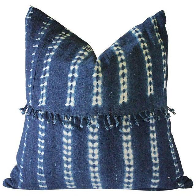 Blue Antique Indigo Blue Batik Fringe Accent Pillow For Sale - Image 8 of 8