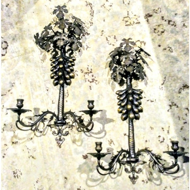 Metal A Pair Large Wrought Iron Grape Leaf 2 Candle Wall Sconce Candelabras For Sale - Image 7 of 7