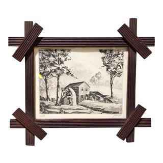 Late 19th Century Antique Water Mill Eastlake Wood Framed Etching Print For Sale