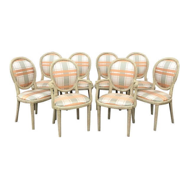 Vintage Carved Rope Dining Chairs - Set of 8 - Image 1 of 10