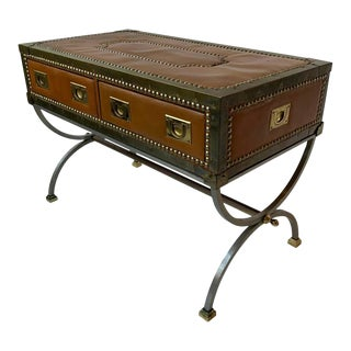 1970s Italian Leather Trunk Coffee Table For Sale