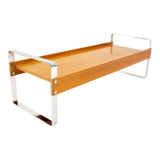 Domino Mobler Mid Century Chrome and Teak Bench For Sale