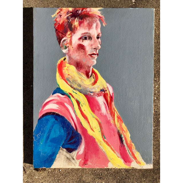 1980s Vintage Multi-Colored Portrait For Sale - Image 5 of 5
