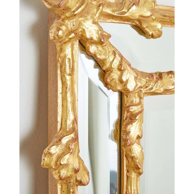 Italian Carved Gilt Wood Faux Bois Cushion Mirror For Sale - Image 10 of 13