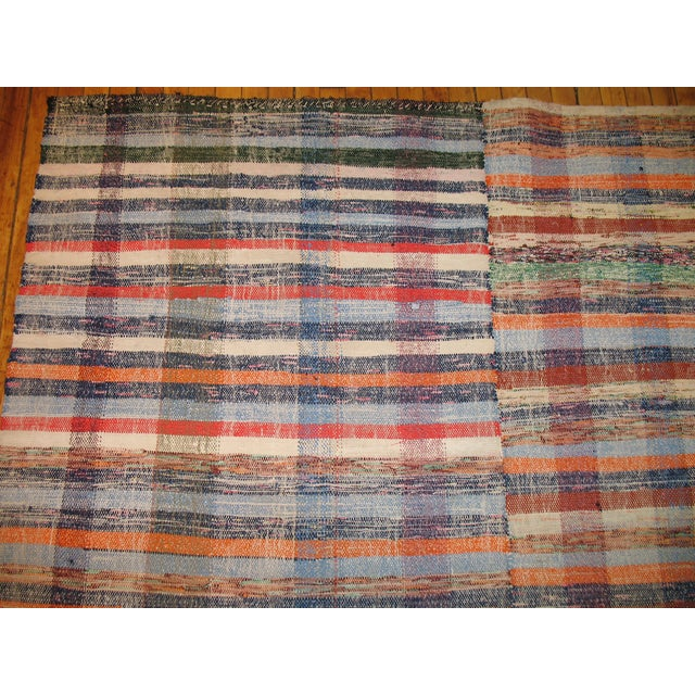 Colorful vintage Turkish rag rug wth a plaid style pattern. Hand-knotted, one of a kind.