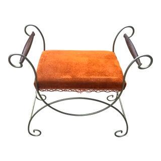 Mid-Century Burnt Orange Upholstered Vanity Stool For Sale