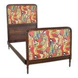Image of Antique French Carved Walnut and Upholstered Twin Bed With Asian Figural Fabric For Sale