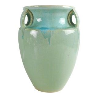 Aqua Art Pottery Vase For Sale
