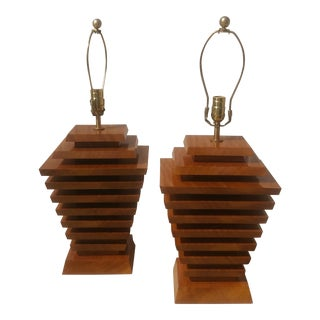 Mid-Century Wood Stacked Lamps - A Pair
