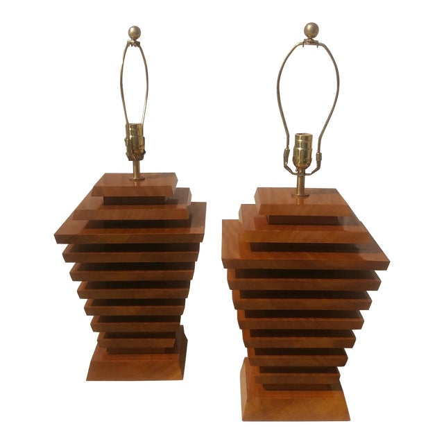 Mid-Century Wood Stacked Lamps - A Pair - Image 1 of 6
